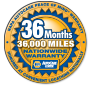 NAPA 36-month, 36,000-mile warranty